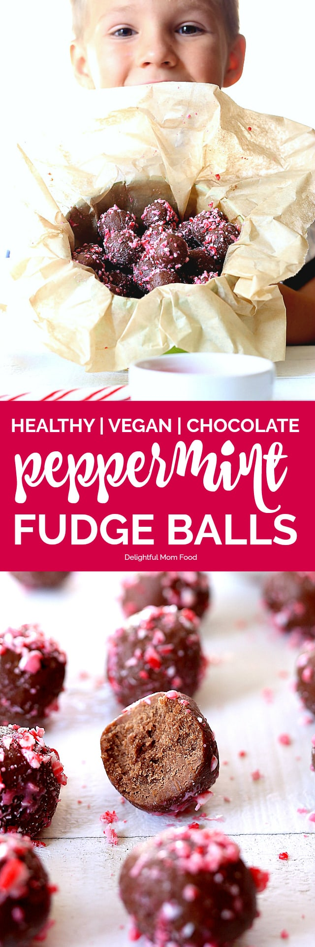 Healthy chocolate fudge balls made raw and coated with crunchy peppermint candy cane pieces. A delicious combination of chocolate cocoa powder, maple syrup, coconut oil, vanilla and gluten-free flour rolled into delicious chewy vegan balls - perfect for the holidays!