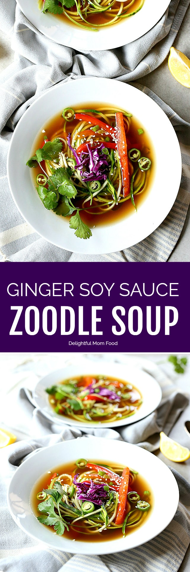 A spicy soy sauce-based ginger soup broth with sweet red bell peppers, green onions, zoodles and jalapenos. A household favorite grain free vegetarian zucchini soup recipe in 30 minutes!