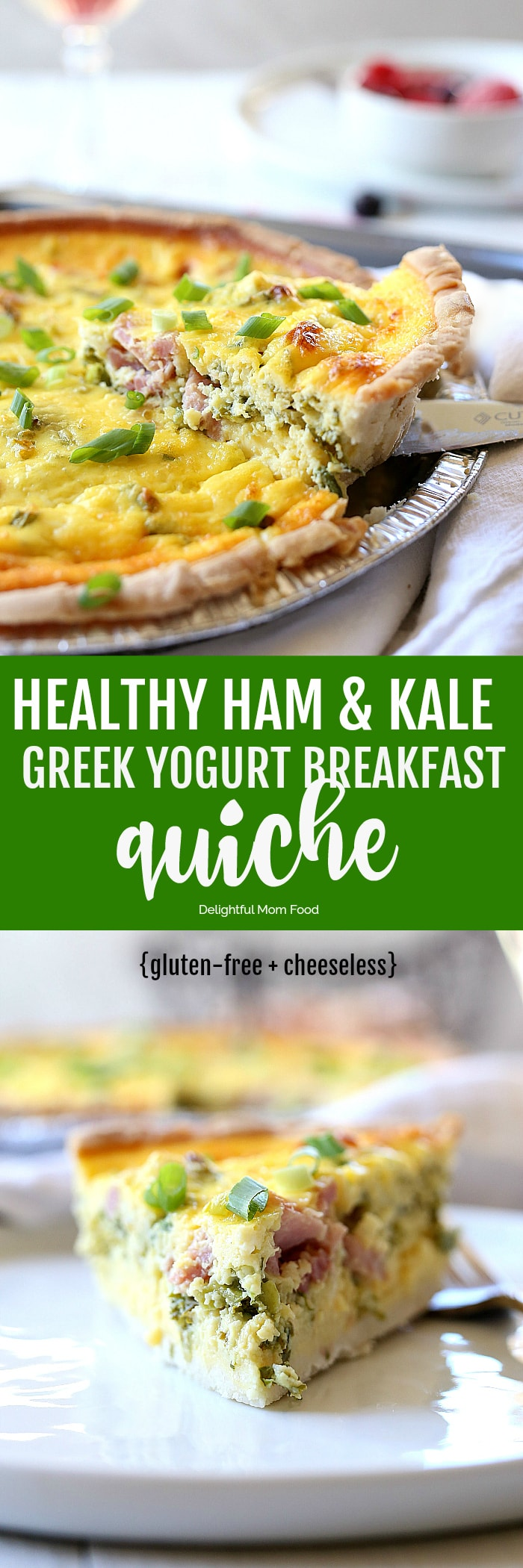 Satisfying and healthy quiche recipe made with finely chopped kale, ham and protein packed non-fat Greek yogurt baked in a gluten free pie crust. 8-simple ingredients for a quick healthy breakfast, brunch or dinner! #healthy #quiche #recipe #kale #eggs #Greekyogurt #ham #breakfast #glutenfree | Delightfulmomfood.com
