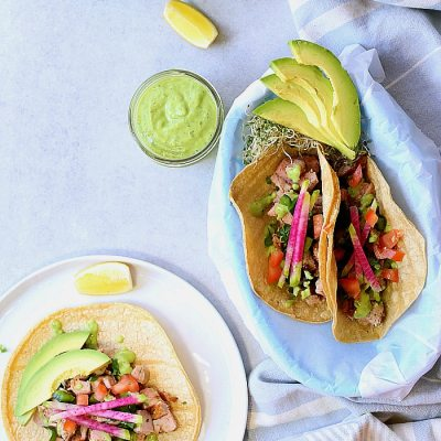 Slow Cooker Pork Tacos In Green Goddess Dressing