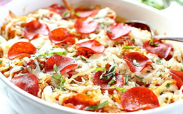 4-Ingredient Baked Spaghetti Squash Pepperoni Pizza Casserole