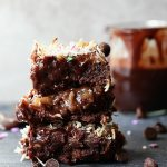 Magic Layer Chocolate Ganache Brownie Bars