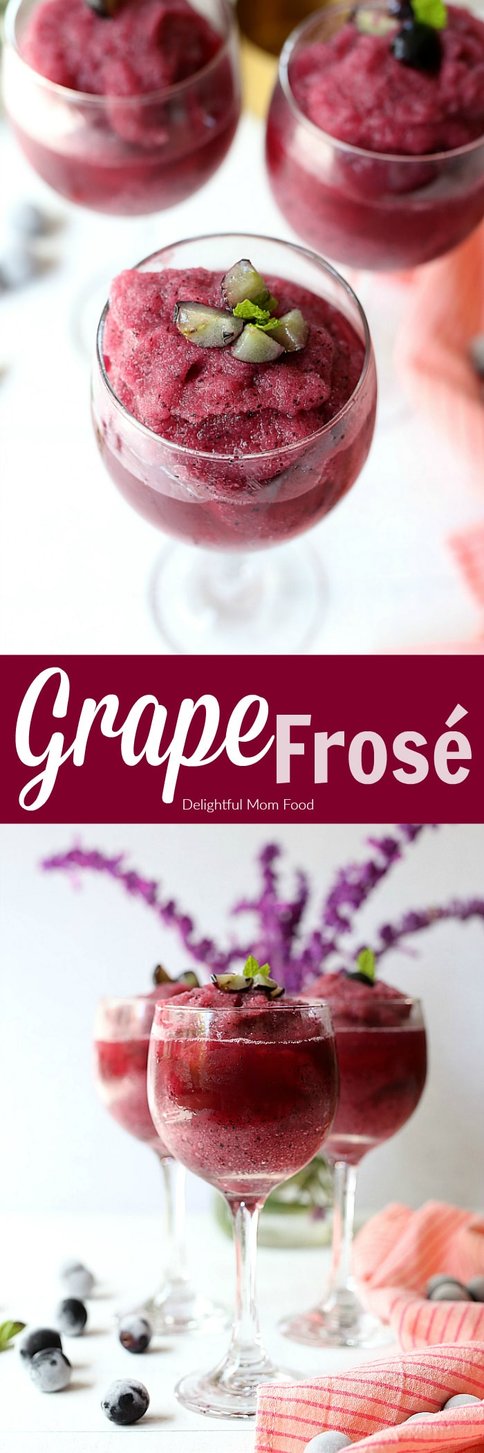 Grape Frosé Rosé (Frozen Rosé)- a refreshing blend of frozen grapes withrosé wine! Enjoy this trendy summer alcoholic beverage at your next party or BBQ to serve a large crowd! Summer's all-time hit cocktails are Frozen Rosé along with enjoying a chilled glass of Rosé wine all day (Rosé All Day Babeee!)! This fruity alcoholic beverage has grown in popularity for its refreshing slushy texture of frozen fruit blended with rosé wine. #frozen #FroséRosé #frozenrosé #grapes #fruit #cocktails #skinnydrinks #easy #quick #roséallday | Recipe at delightfulmomfood.com