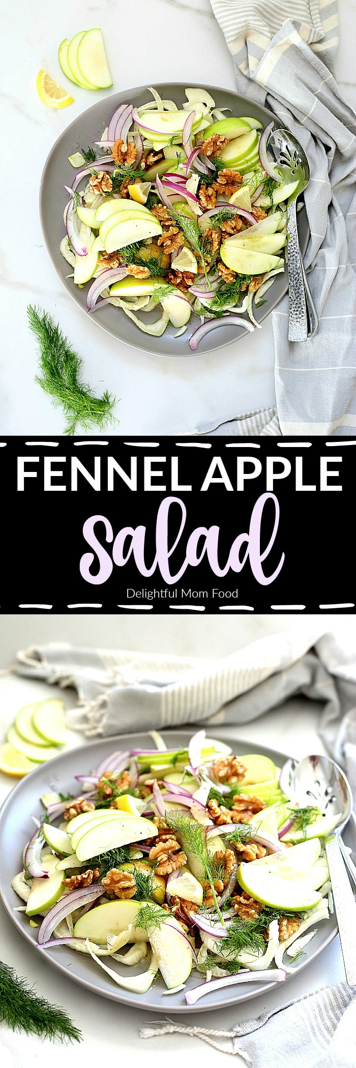 A light and simple fennel apple salad that everyone will love! This refreshing winter salad is drizzled with a light vinaigrette dressing that ramps up the flavors of fennel and apple – 10 minutes and a total crowd pleaser! #apple #fennel #salad #winter #glutenfree #healthy #easy #quick #winter #vegetarian #vegan #dairyfree #dressing | Recipe at delightfulmomfood.com