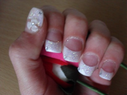 Acrylic Nails With White Tips Glitter And 3d Nail Art
