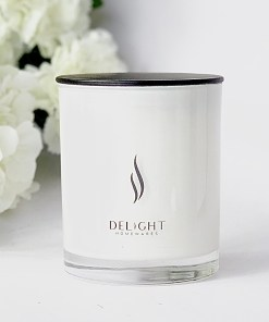 Large White Soy candle with Black Lid