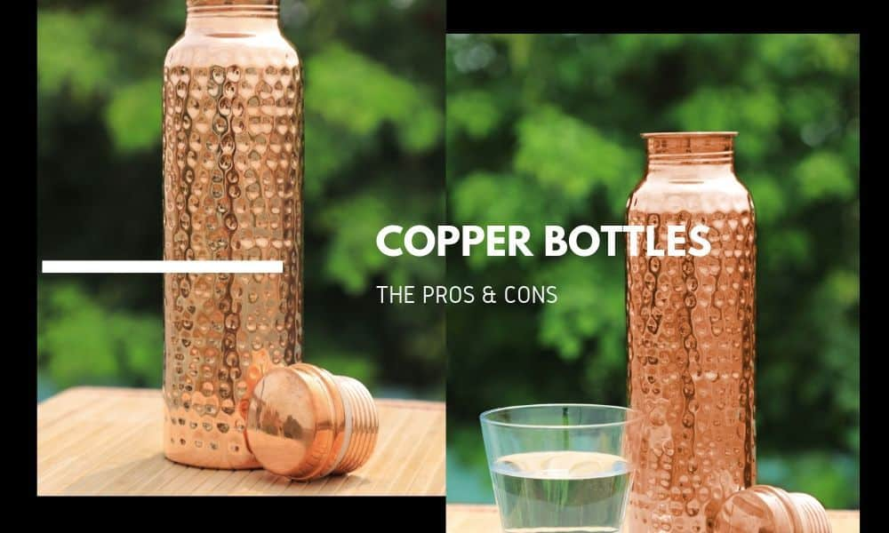 Copper Water Bottles with green background
