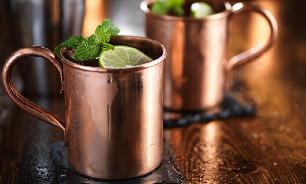 cold drink in copper mug on the table
