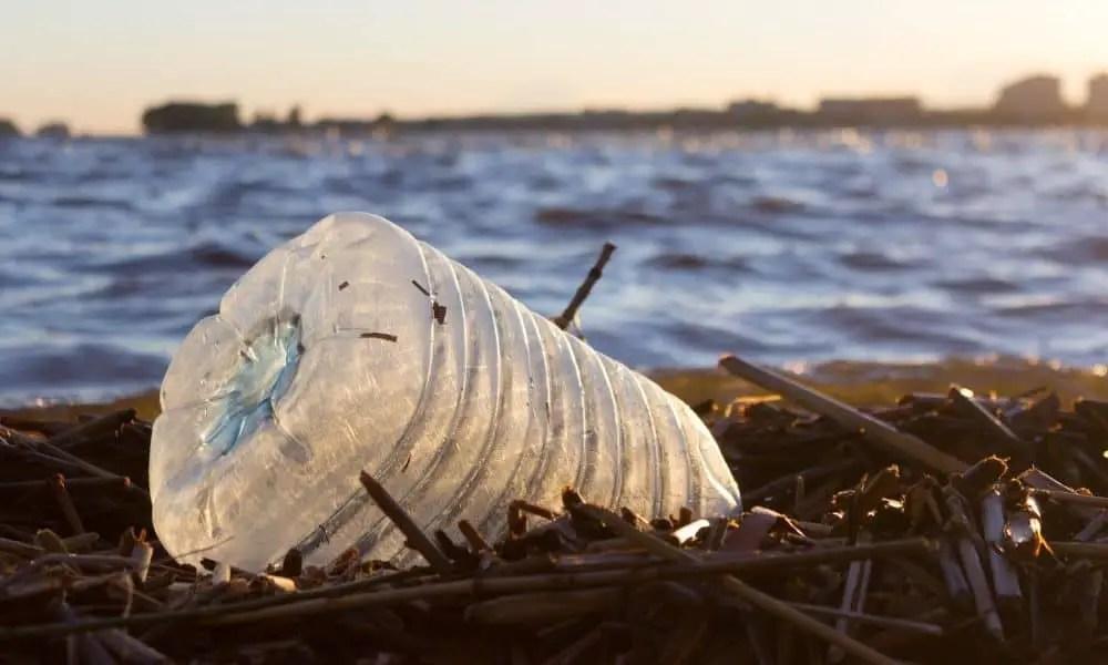 Plastic water bottles pollute ocean