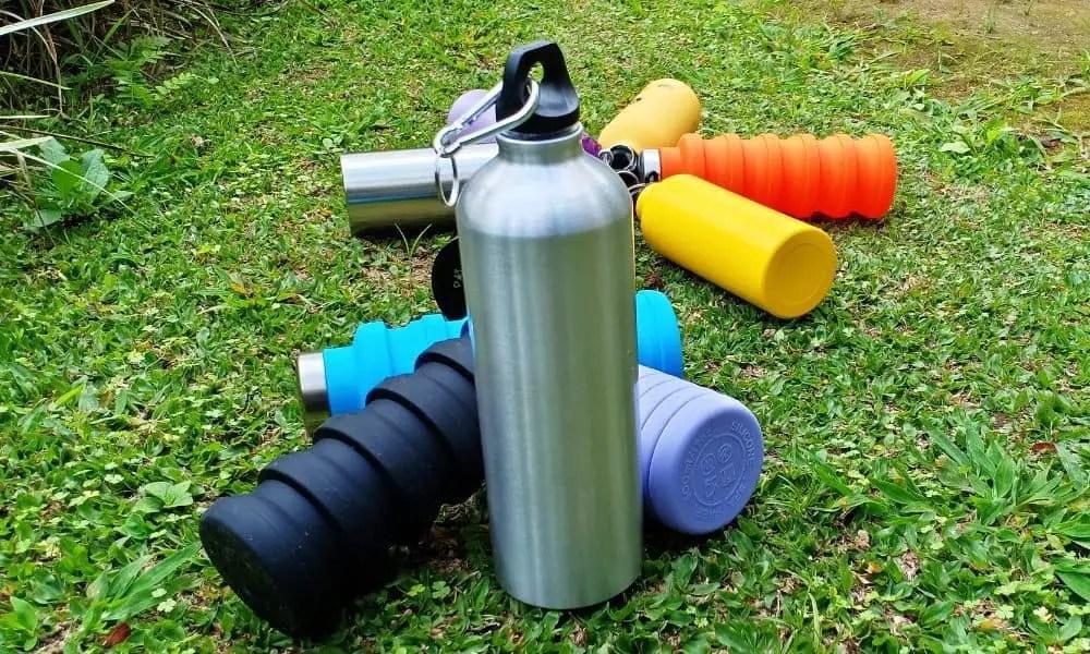 aluminum bottle water on the grass