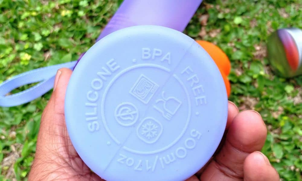 bpa-free sign at the bottom of silicone bottle water