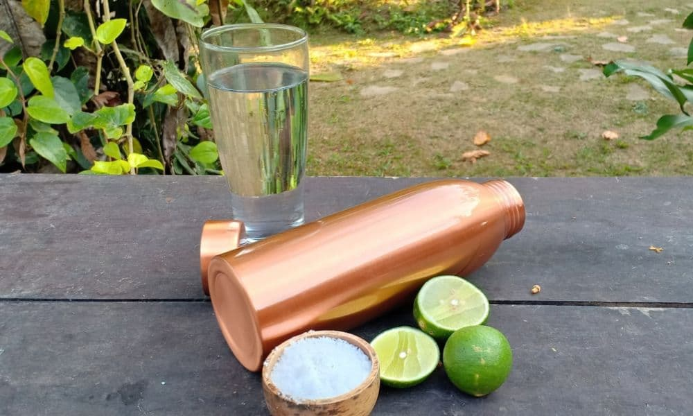 copper bottle water, salt and some limes to clean