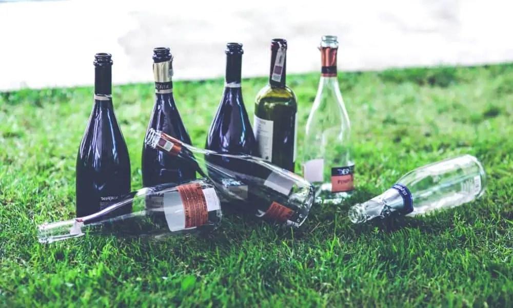 empty wine bottles on the grass