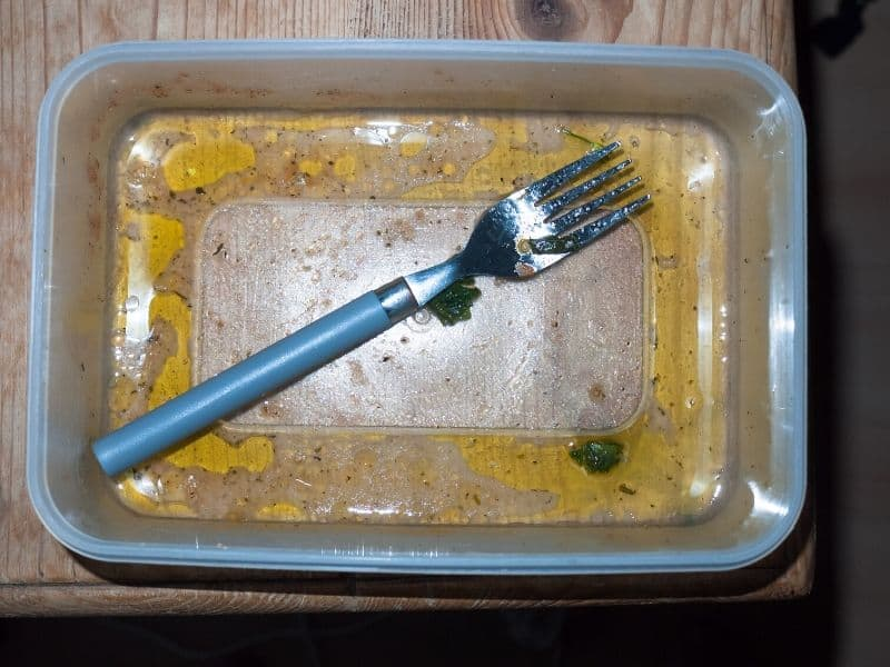 dirty tupperware and fork empty unclean