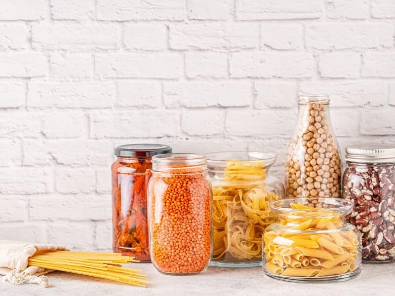 food Products in glassware storage