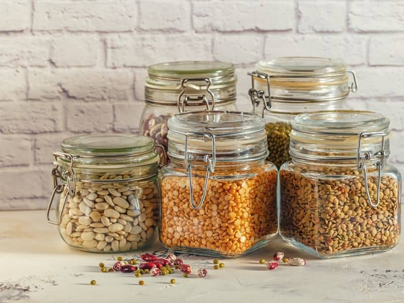 Glass Food Storage with various legumes - beans, mung bean, peas and lentils