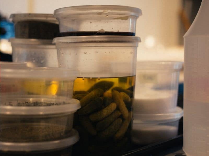 plastics food containers fill with liquid