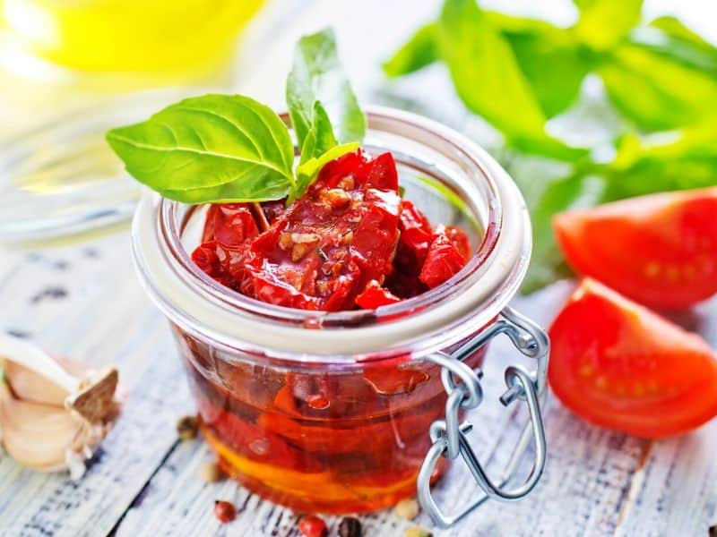dry tomato in the glass jar