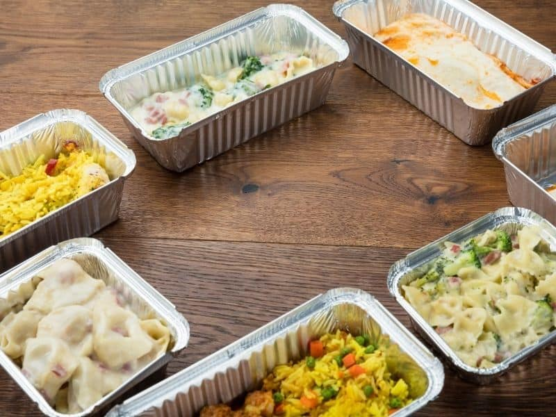 different kind of Take Away Food In Foil Containers
