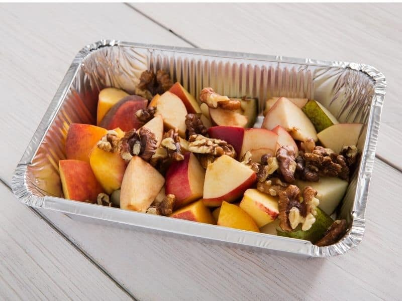 fruit salad in aluminum foil