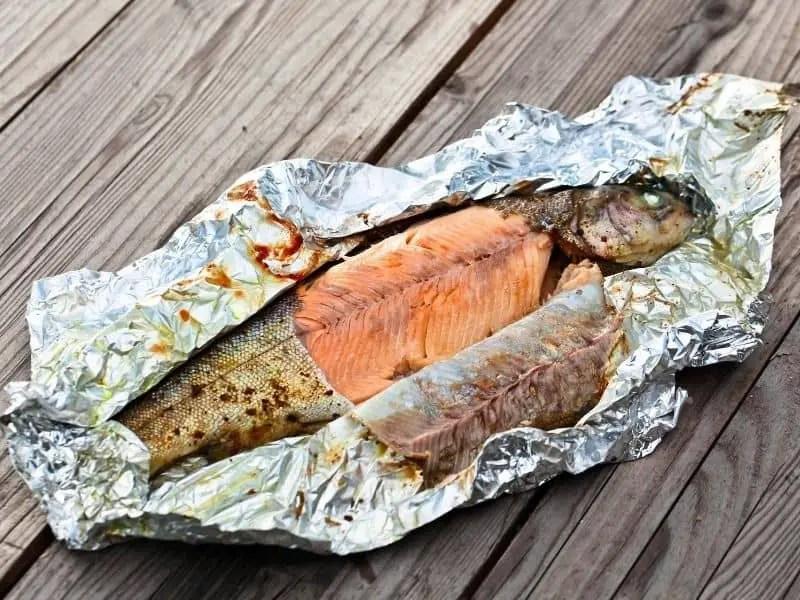 trout fish baked in aluminum foil