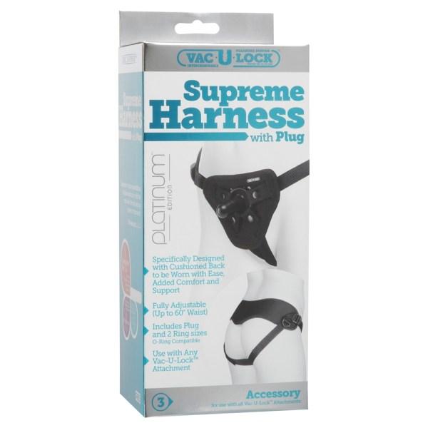Vac-U-Lock Platinum Luxe Harness - With Plug Black