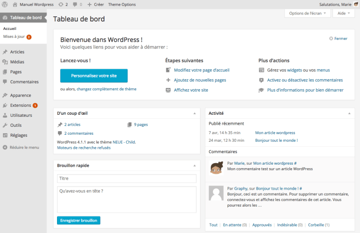 Le tableau de Bord de WordPress