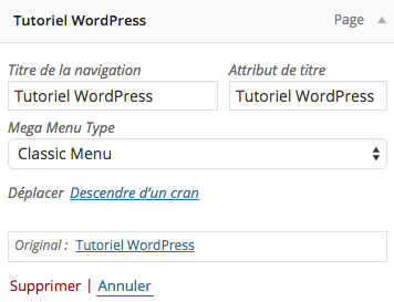 Modifier le titre de la navigation WordPress