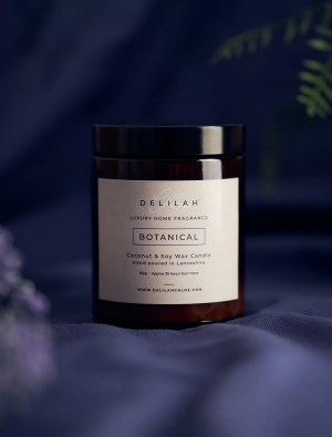 Plum & Patchouli luxury scented soy wax candle. Botanical by Delilah Chloe Home Fragrance