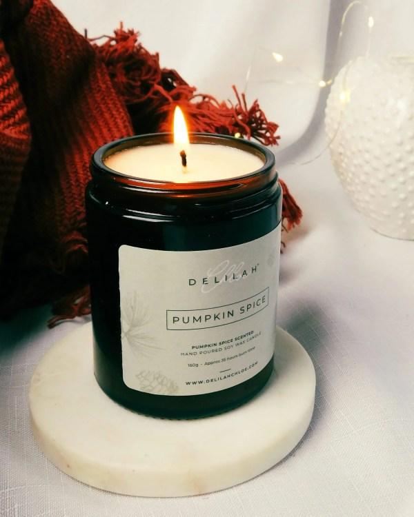 Pumpkin Spice Fragranced Candle, Autumn Candles, Winter Candles, Christmas Candles. Home Fragrance by Delilah Chloe