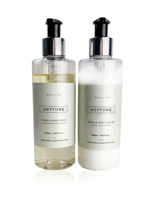 Neptune hand wash and lotion set by Delilah Chloe. Luxury Rock Salt & Driftwood fragranced hand wash and lotion