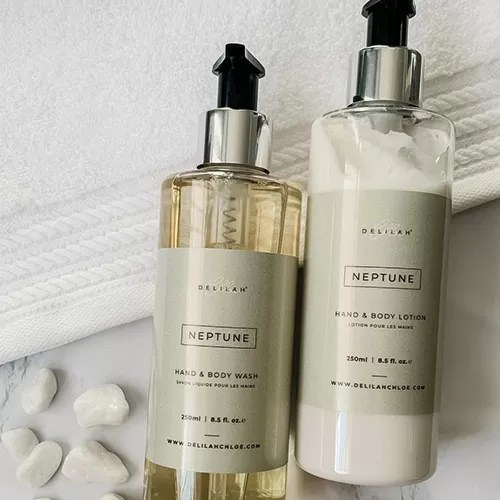 Luxury Hand & Body Wash and Lotions by Luxury Home fragrance brand Delilah Chloe.