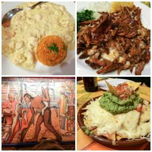 Pollo flor, nachos con guacamole y tacos pastor