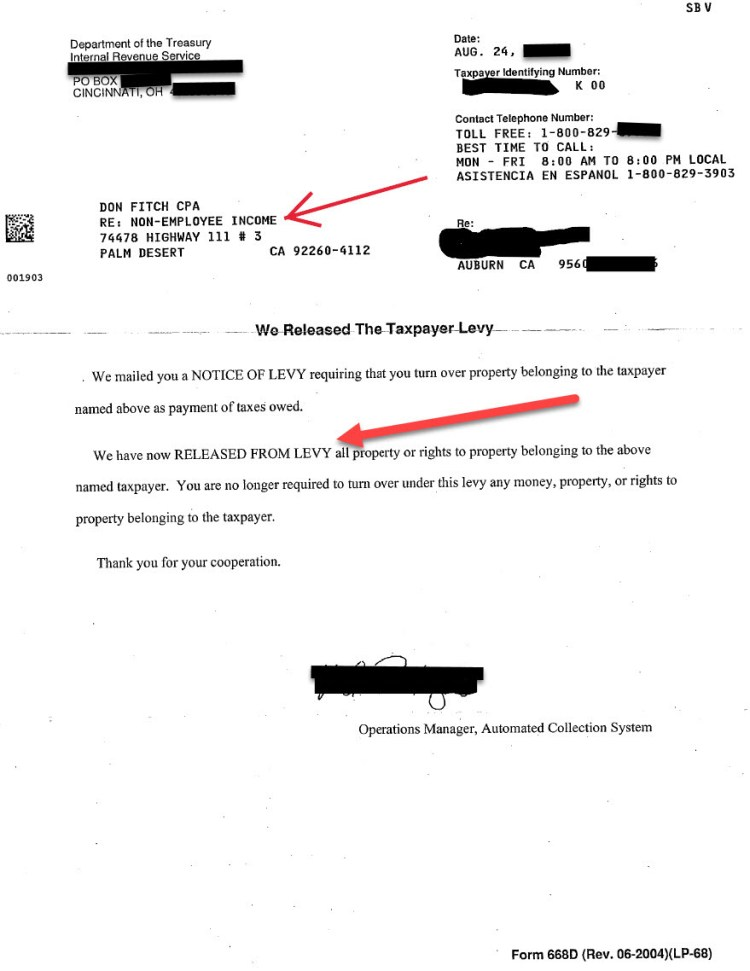 Actual IRS 1099 Non Employee (Contractor) Levy Release Confirmation Letter for Bill