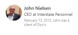Testimonial of John Nielsen