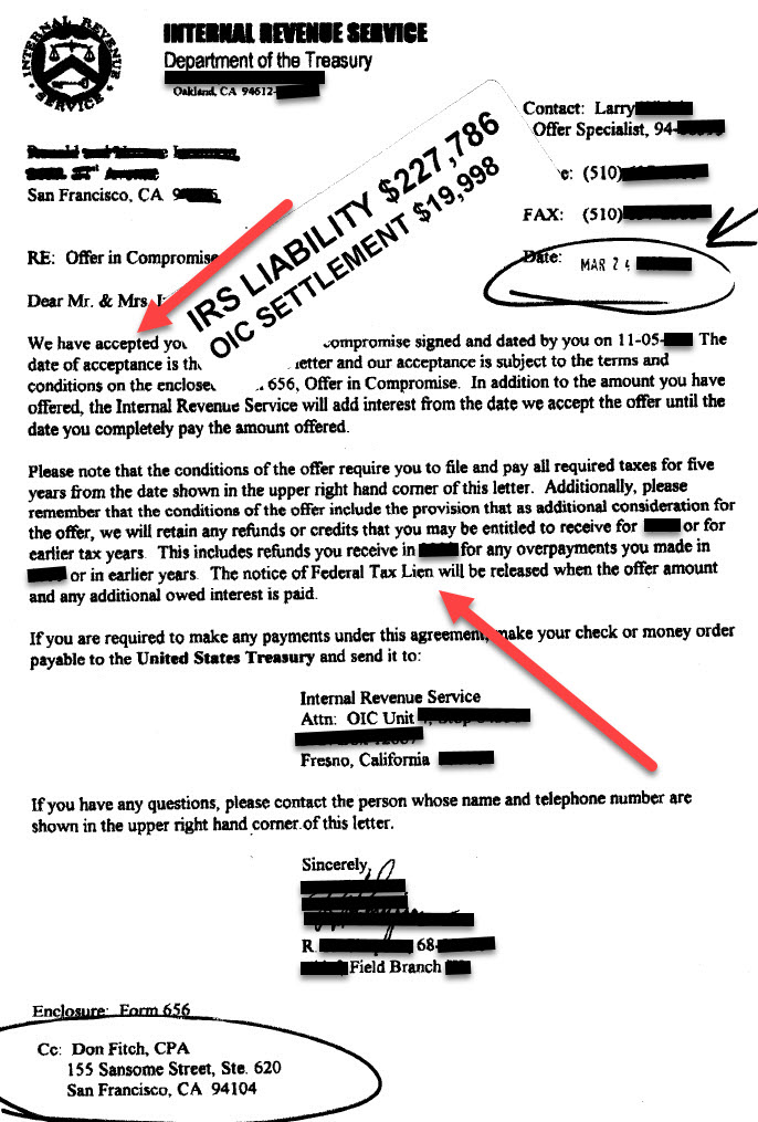 Offer in Compromise - 228k for 20k - Actual IRS Acceptance Letter