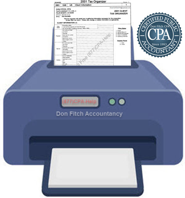 2001 Tax Organizer - Click on the above to Download the 2001 Tax Organizer in pdf format