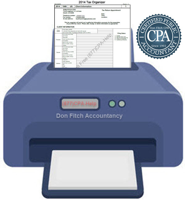 2014 Tax Organizer - Click on the above to Download the 2014 Tax Organizer in pdf format