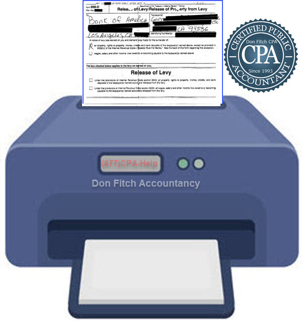 Actual IRS Bank Levy Release Confirmation Letter for Gary