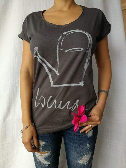 Camiseta locura cuello pico manga corta color antracita mujer