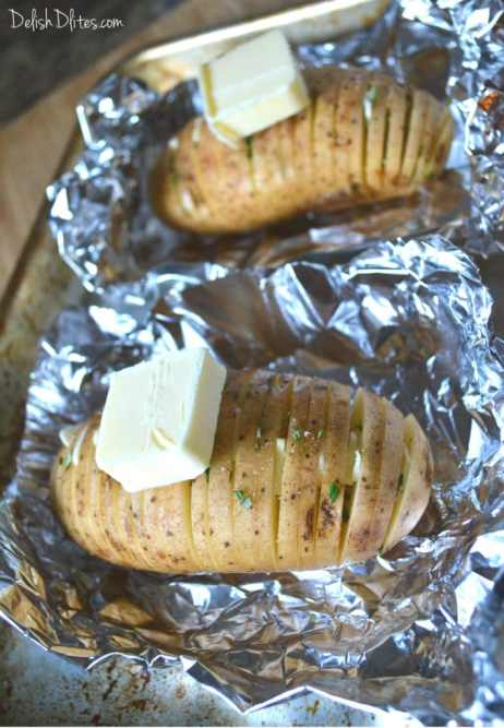 Hasselback Potatoes with Macadamia Nut Pesto | Delish D'Lites