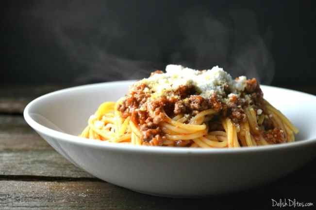 Barilla® Spaghetti with Chipotle Ground Beef and Cotija | Delish D'Lites