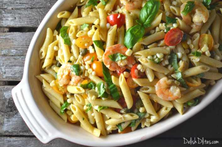 Roasted Shrimp and Sweet Corn Pasta Salad | Delish D'Lites
