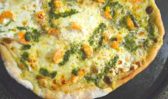 Shrimp Alfredo Pizza with Pesto