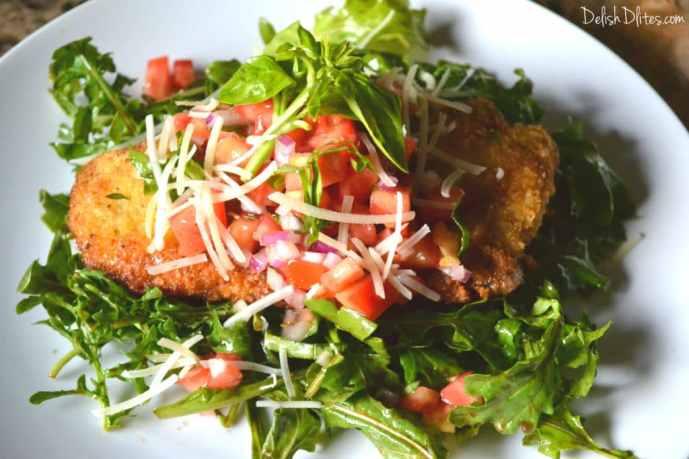 Chicken Milanese with Bruschetta & Arugula | Delish D'Lites