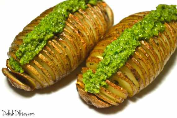 Hasselback Potatoes with Macadamia Nut Pesto | Delish D'Lites