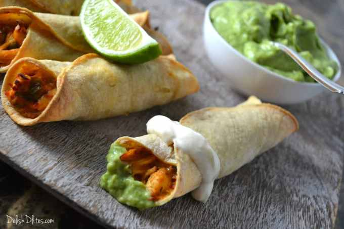 Salsa Chicken Taquitos | Delish D'Lites
