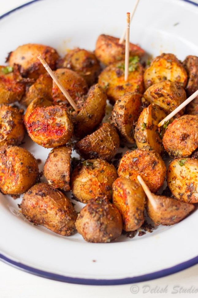 Crispy Spicy Cajun Roasted Potatoes vegan and gluten free party appetiser