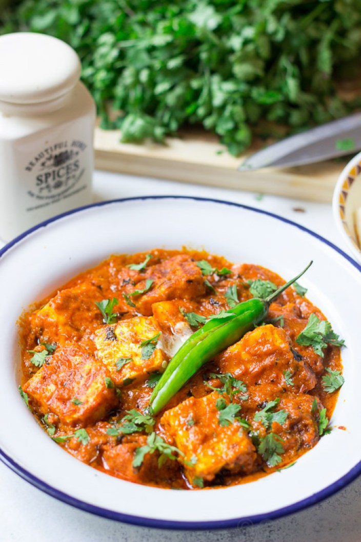 keto paneer makhani (low carb) served in a dish.