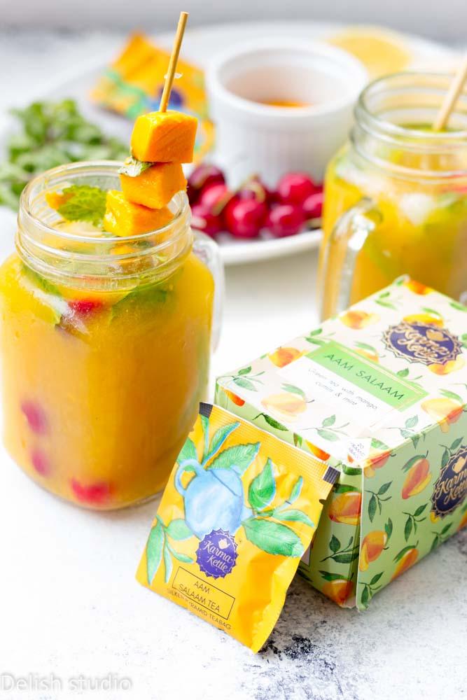 Mango ice tea in mason jars